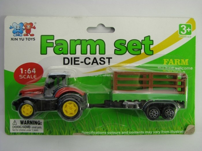 Farm set Traktor s vlekem a bočnicemi 1:64 Xin You Toys